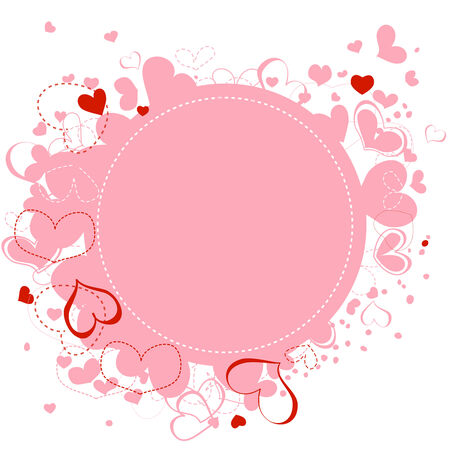 Pink hearts frame Vector