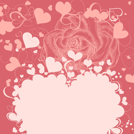 Roses and hearts romantic background Vector