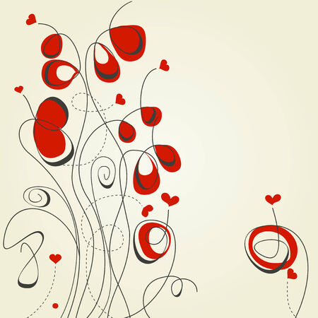 Flowers and hearts Stock Vector - 8555291