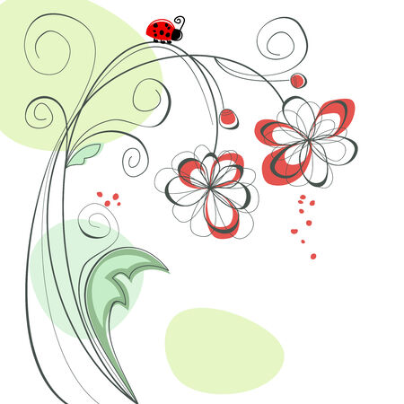 Floral background and ladybug Vector