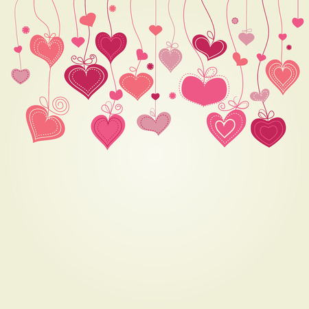 hanging sign: Cute hearts background  Illustration