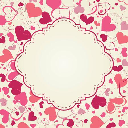 Cute hearts frame  Vector