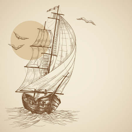 marine ship: Vintage sailboat