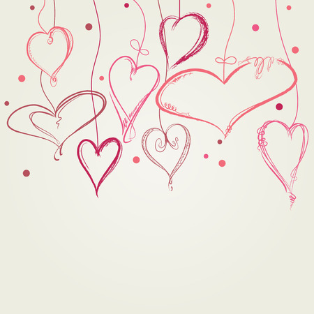 cute doodle: Hearts background