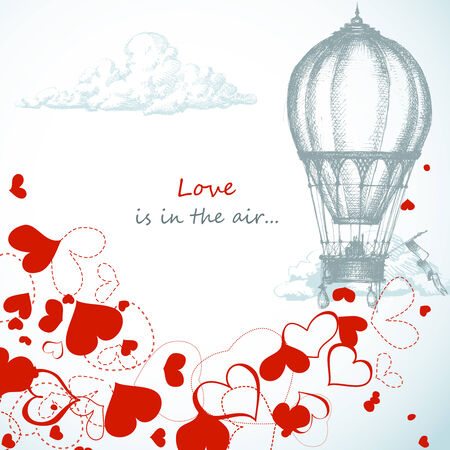 hot air balloon: Love is in the air...  Illustration