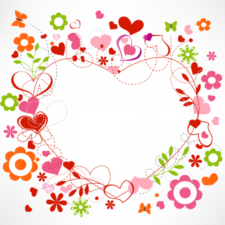 pink hearts: Hearts and flowers frame  Illustration