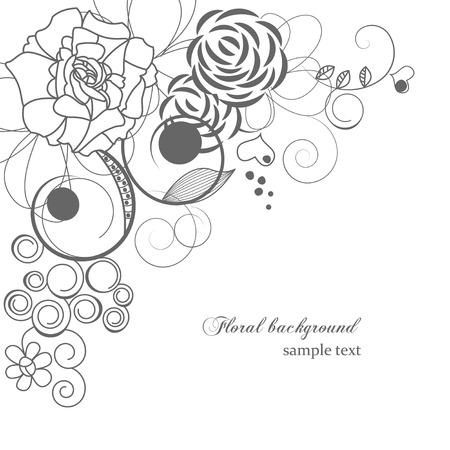 monocrom�tico: Monochrome floral background  Ilustra��o