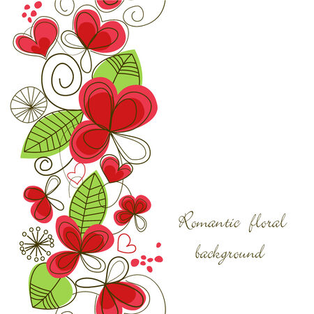 cute border: Romantico floral background  Vettoriali