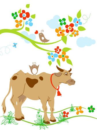 barnyard: Cute cow and birds in springtime