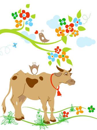 cow bells: Vaca lindo y aves en primavera