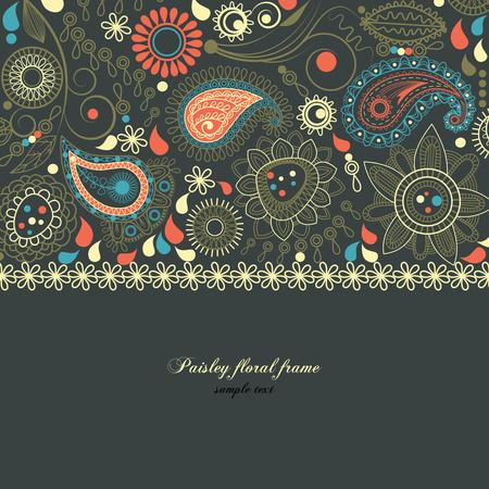 floral border frame: Paisley floral frame Illustration
