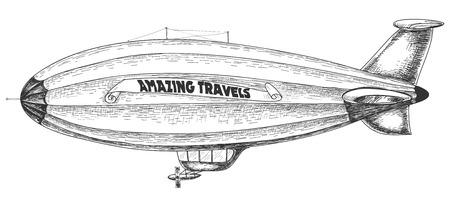 luftschiff: Luftschiff-Bleistiftzeichnung  Illustration