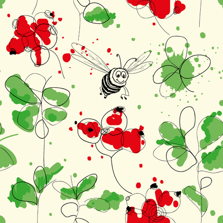 Cranberries and bee seamless pattern  Vector