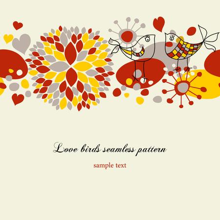 singing bird: Love birds seamless pattern