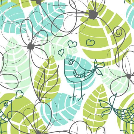 pajaro caricatura: Flores, hojas y patr�n transparente de aves de amor