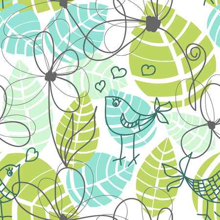 aves: Flowers, leaves and love birds seamless pattern