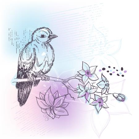bluebird: Bird and jasmin branch spring pastel