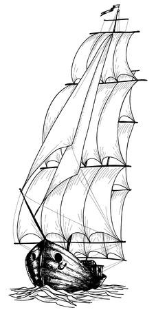 wooden boat: Vintage sailboat sketch