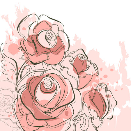 a bud: Grunge roses Illustration