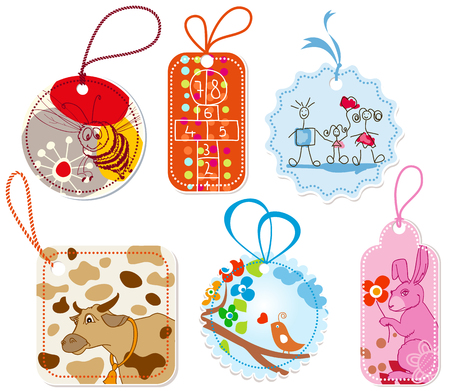 Gift tags for children, cartoon design Vector