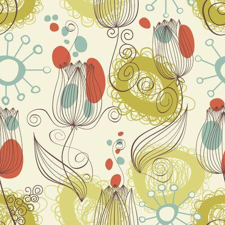レトロな花の背景 (シームレス)
