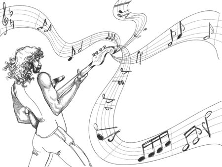 bass player: The guitar player Illustration
