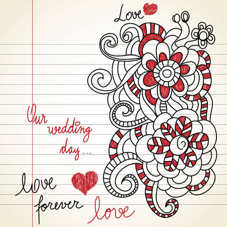 Wedding day doodles  Vector