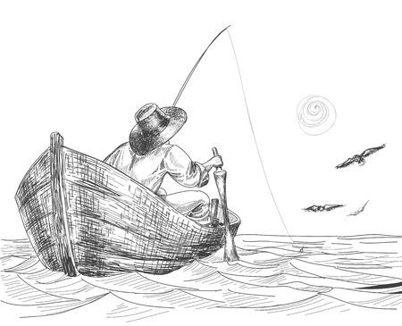 resting rod fishing: Fisherman drawing