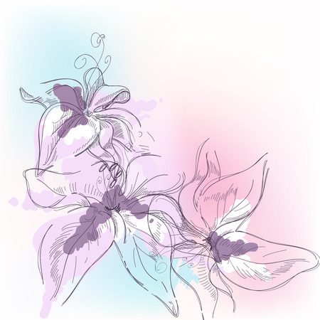 muguet fond blanc: Pastel floral