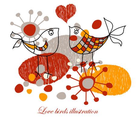 oiseau dessin: Love oiseaux illustration