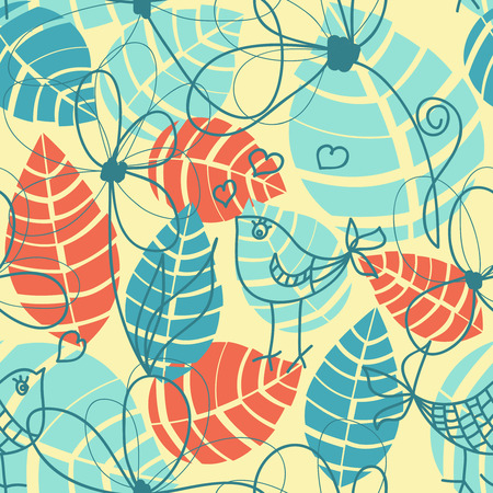 Stylized leaves and love birds, retro seamless pattern  Vector