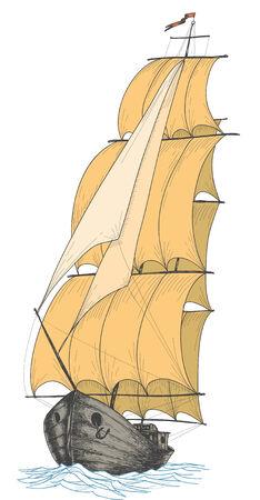 yacht isolated: Velero vendimia  Vectores