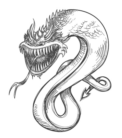 sketched icons: Un dibujo a l�piz drag�n feroz