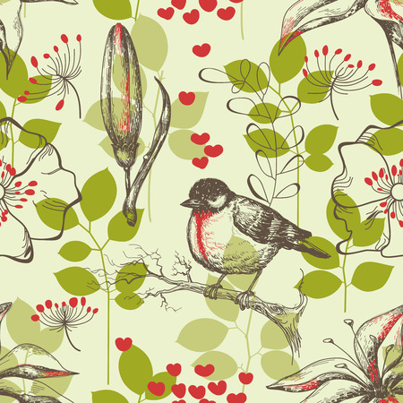 repeating pattern: Bird and lilies seamless pattern