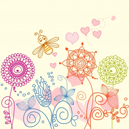 cute bee: Garden love story: cartoon bee and flowers