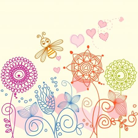 encantador: Garden love story: cartoon bee and flowers
