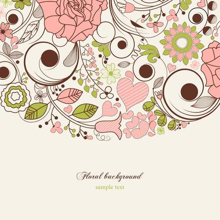 pink border: Festive floral background