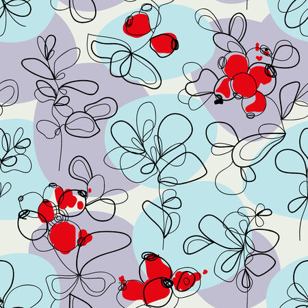Flowers and cranberries seamless pattern  Vector