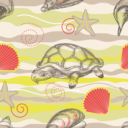 shell pattern: Beach seamless pattern