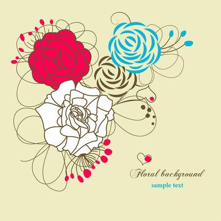 postcard back: Cute floral background
