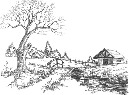 Early spring landscape  Vector