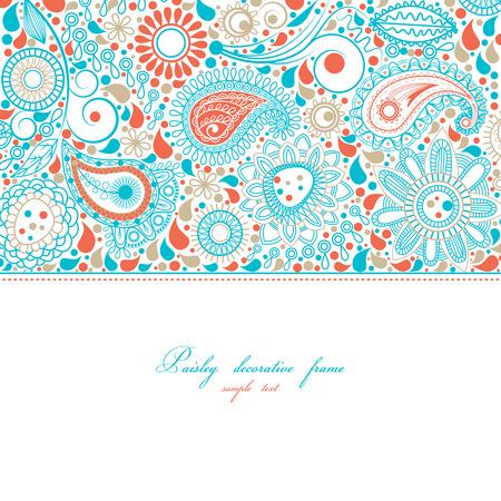 turquoise swirl: Paisley floral frame Illustration