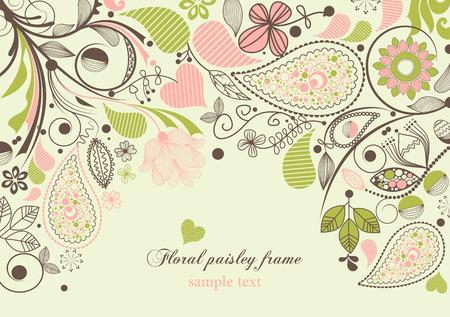 motif cachemire: Floral frame paisley Illustration