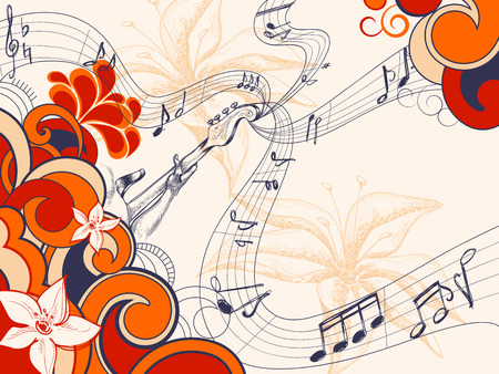 funky music: Retro music background  Illustration