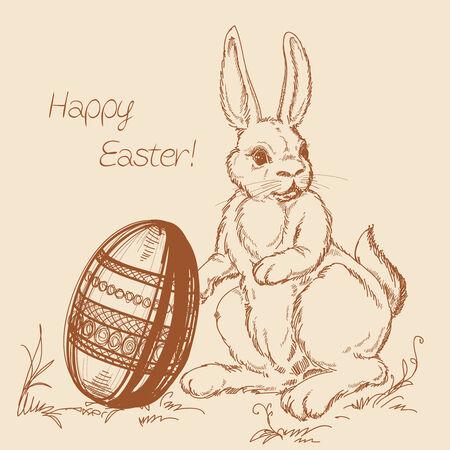 Easter cartoon scene, rabbit and Easter egg Vector