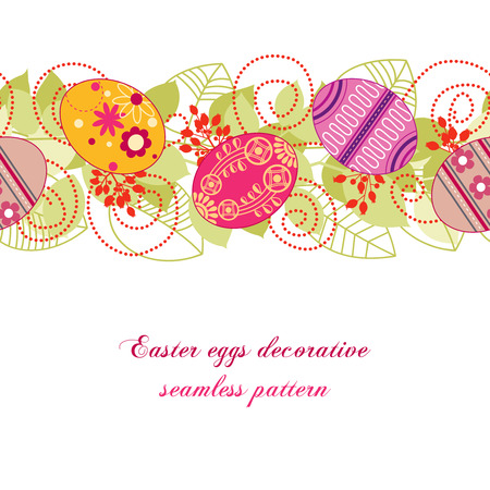 border cartoon: Easter eggs seamless pattern Illustration