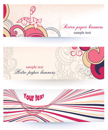 Retro floral paper banners Stock Vector - 9056338