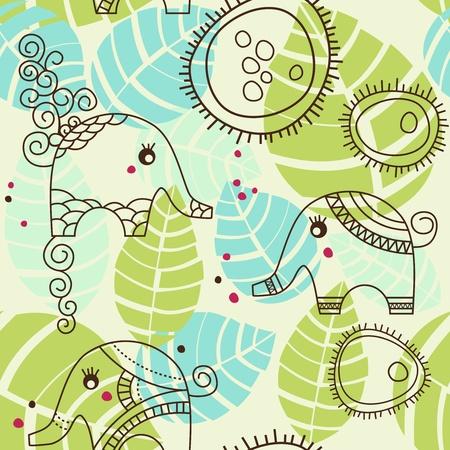 Little elephants garden; seamless pattern Vector