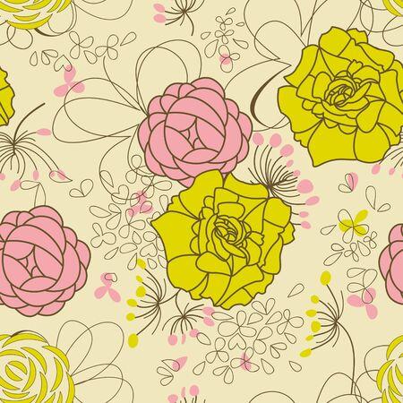 pale ocher: Floral seamless pattern, retro style