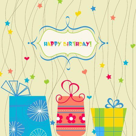 cute text box: Happy birthday card  Illustration